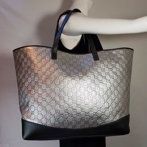 Auth Gucci GG Large Silver Tone Leather Tote